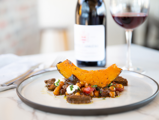Haute Cabrière Pinot Noir Unwooded paired with chickpea, aubergine and pumpkin ragout